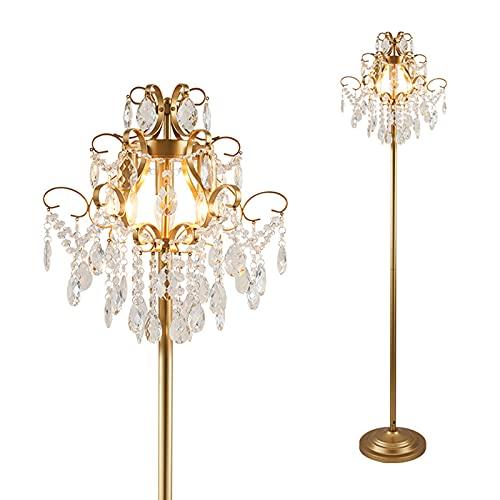 LJFLI Lámpara de pie de Cristal Oro Gota de Agua Iluminación de Estudio de Dormitorio de Sala de Estar de Lujo Ligera de Alta Gama Creativo Sencillo y Moderno