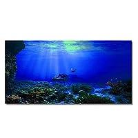 人工水生植物 海底大破PVC水族館HDの背景のポスター水槽の装飾風景 (色 : 青, サイズ : 122x61cm)