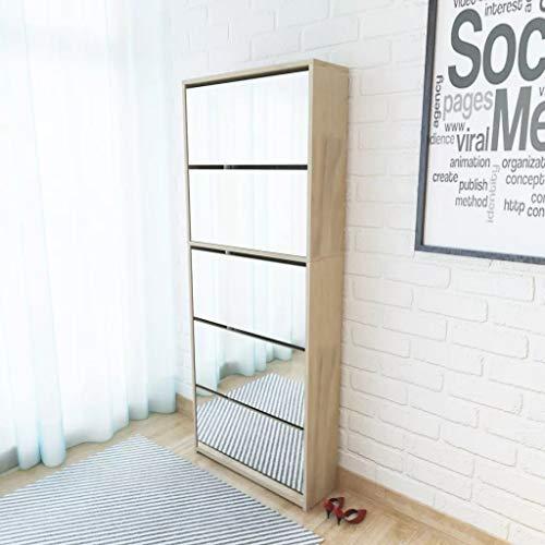 Zapatero con espejo para entrada, 63 x 17 x 169,5 cm, zapatero con 5 puertas abatibles, para aproximadamente 15-20 pares de zapatos, color roble