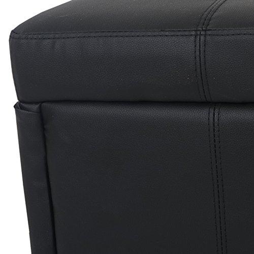 Mendler Aufbewahrungs-Truhe Sitzbank Bank Kriens XXL, Kunstleder, 180x45x45cm ~ schwarz matt - 9