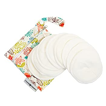 Organic Washable Breast Pads 8 Pack   Reusable Nursing Pads for Breastfeeding with Carry Bag