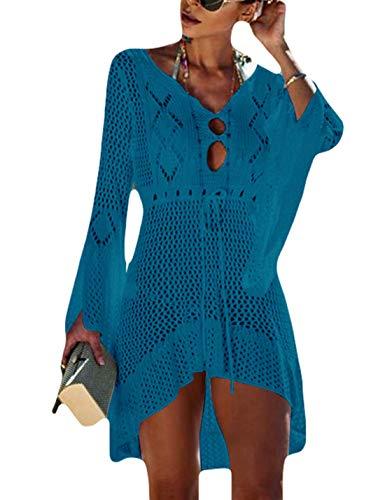 Ailunsnika Tunika, Bademode, gehäkelt, hohl, Strand-Bikini-Kleid für Frauen - blau - Einheitsgröße