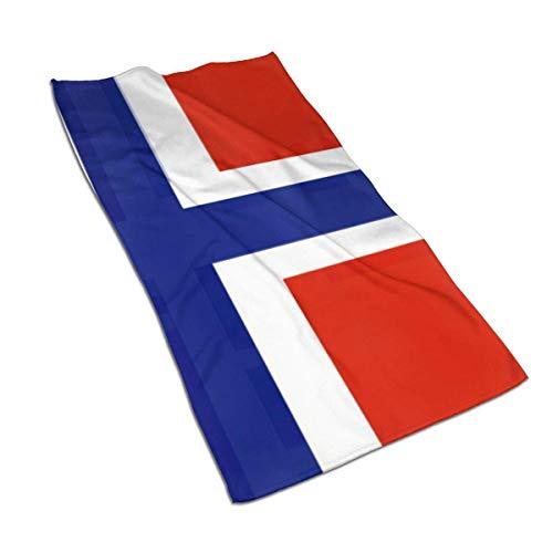 erjing Toalla Toalla de Mano con Bandera Noruega Toalla de baño Fina, Toalla de baño pequeña Ultra Suave Altamente Absorbente Decoración de baño