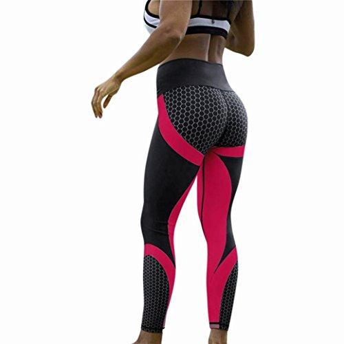 LANSKIRT Leggings Yoga Tights Sportleggings Gym Fitness Sports Hosen Running Hose Yogahose (L, Rosen rot)