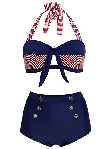 Doballa Damen 50er Retro Bademode Bikini Set Neckholder Push up hohe Taille Bauchweg Gestreift (XXXL(EU46), Rot und Marine)