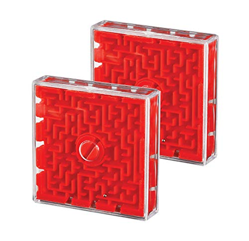 Six Sided Maze Game Ball 2 Piece Set Great Gift Idea for Kids and Adults - Mini Slide Puzzle Ball for Brain Exercise and Memory Retention Perfect While Travelling (2 Pc Square Puzzle)