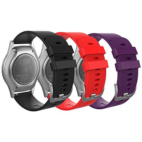 MoKo Correa Compatible con Garmin Vivoactive 3/Galaxy Watch 42mm/Galaxy Watch 3 41mm/Galaxy Watch Active/Active 2/Gear S2 Classic/Huawei Watch GT/GT 2 42mm, 20mm Pulsera - Negro y Rojo y púrpura