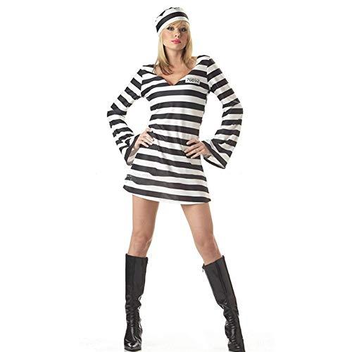 LXJ Vestido de Halloween for Las Mujeres Amantes del Horror Sangriento Zombi Hombres Ropa Prisionero Disfraz Carnaval de la Mascarada de la Raya de los Trajes de Miedo