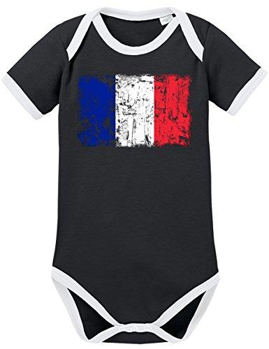 TSP Frankreich Vintage Flagge Fahne Kontrast Baby Body 80 Schwarz