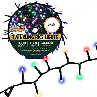 1000 LED Multicolor Twinkling Cluster Rice Lights, Long Bulb Life, Nearly 74 ft. of Lights, 30,000 Hours of Light, Tangle-Free Design, Great for Holidays, No-Hassle Design, 8 Different Light Modes