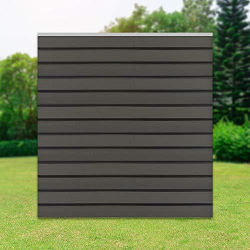 ML-Design WPC Quadratelement aus 13 WPC Paneele, 170x175x1,9 cm, Grau, robust, witterungsbeständig, Sichtschutz Elemente, WPC-Zaun, Sichtschutzzaun, Sichtschutzwand, Windschutz, Steckzaun, Gartenzaun