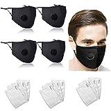 Confezione da 100 protezioni in cotone anti-polvere, anti-fumo, traspiranti per naso, con cinghie regolabili, riutilizzabili, lavabili (12 filtri a carbone attivo inclusi)