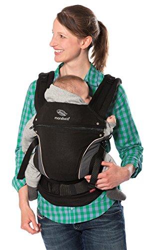 manduca Babytrage First 2018/HempCotton Black/Optimierte 3-Punkt-Schnalle, Weicher Canvas (Hanf & Biobaumwolle), Bauchtrage, Hüft- und Rückentrage für Kinder und Babys ab 3,5-20 kg, schwarz