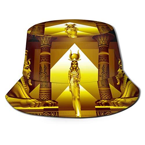 Sombrero Pescador Unisex,Funda nórdica Patrón Egipcio,Plegable Sombrero de Pesca Aire Libre Sombrero Bucket Hat para Excursionismo Cámping De Viaje Pescar
