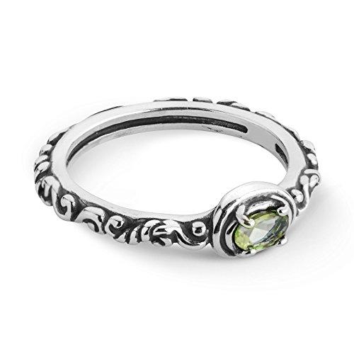 Carolyn Pollack Sterling Silver Green Peridot Gemstone Single Oval Stone Ring Size 7