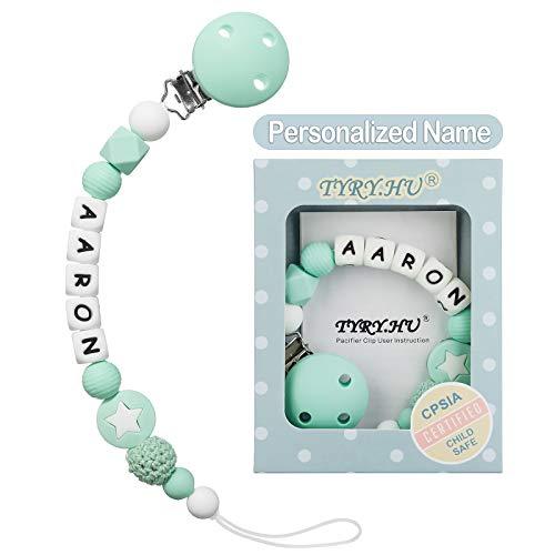 TYRY.HU Cadena Para Chupetes Personalizado Para Bebe con Nombre Silicona Clips de Chupete Soothie Clip Corona Mordedor(verde)
