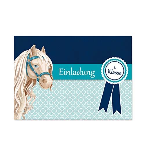 KREATIVES HERZ Pferd Pony Einladungskarten zur Einschulung Türkis Einladungen Schulanfang Karten A6 (10 Karten)