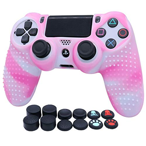 Water Transfer Printing Silicone Skin for PS4 RALAN ,PS4 Silicone Skin Controller for PS4 Pro Controller (Black Pro Thumb Grip x 8 ,Cat + Skull Cap Cover Grip x 2) (White + Pink)