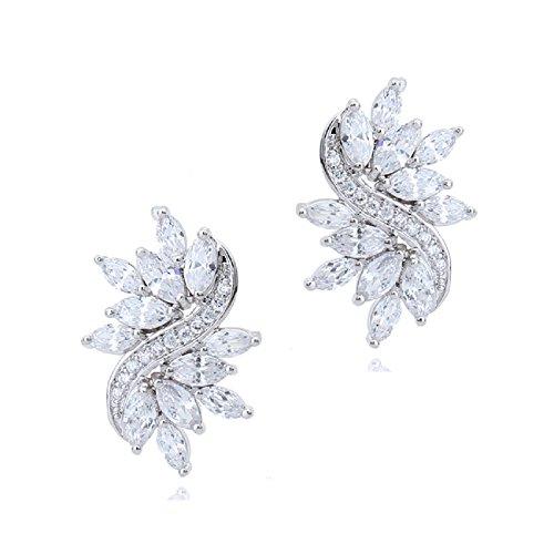 Hochzeit Ohrstecker Ohrringe mit Weiß Österreichische Zirkonia Kristalle 18 kt Vergoldet für Damen