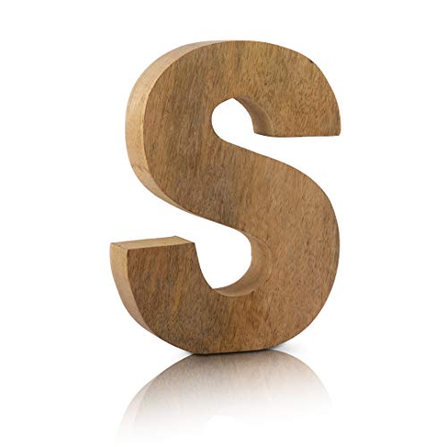 8' Decorative Solid Block Wooden Letters Alphabets Words Natural Finished Wood Freestanding Shelf or Tableware Childrens Baby Names Initials for Bedroom Wedding Birthday Party Home Decor (Letter S)