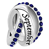 Casa De Novia Jewelry Wedding Day Charm Sep Birthstone Bead fit European Bracelets&Necklaces