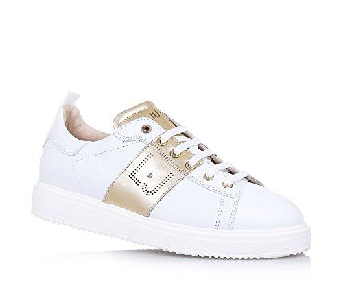 Liu Jo LIU JO - Weißer Schuh mit Schnürsenkeln, made in Italy, bronzefarbene Applikationen, seitlich und auf der Zunge ein Logo, Mädchen, Damen-35