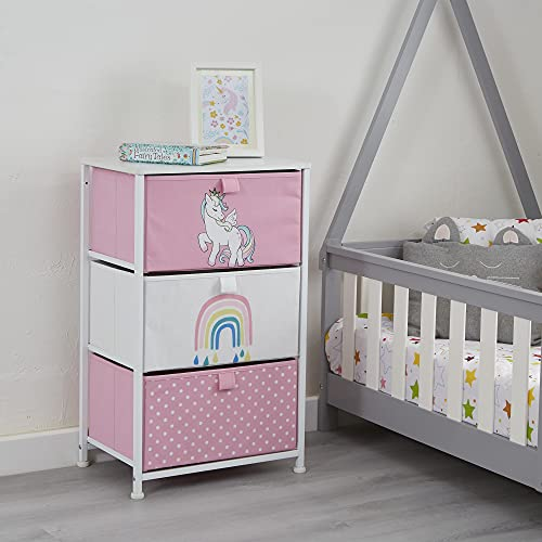 Liberty House Toys Kids Unicorn Chest of Drawers - Furniture Storage Chest for Kid's, Bedroom, Nursery, Playroom, Clothes, Toy Storage - Steel Frame, Wood Top, 3 Fabric Bins