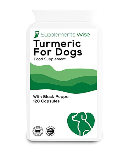 Turmeric For Dogs - 120 x 500mg Capsules - Hip and Joint Support - Young & Senior Canines - Powerful Curcumin Supplement With Black Pepper To Increase Absorption - 10000mg Equivalent Strength Extract