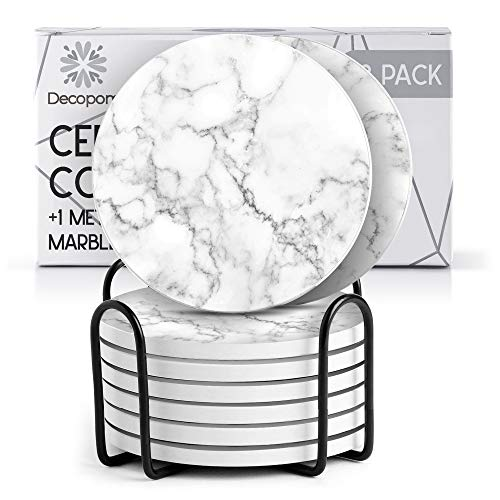 Coasters for Drinks Ceramic Cork Set - 8 Pcs Absorbent Mystery White Marble Design Coasters with Metal Holder for Cups Mugs Coffee Wine Wooden Glass Tabletop Protection Bar Table House Warming Home
