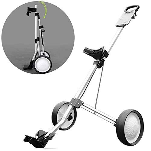 LMM Faltbare Golf-Trolley, 2-Rad-Push-Pull-Golf Cart, leicht zusammenklappbarer Golf Rollwagen, mit verstellbarem Schiebegriff, for Outdoor Sport