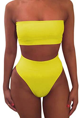 Pink Queen Women's Removable Strap Pad High Waist Bikini Set Swimsuit Yellow XL