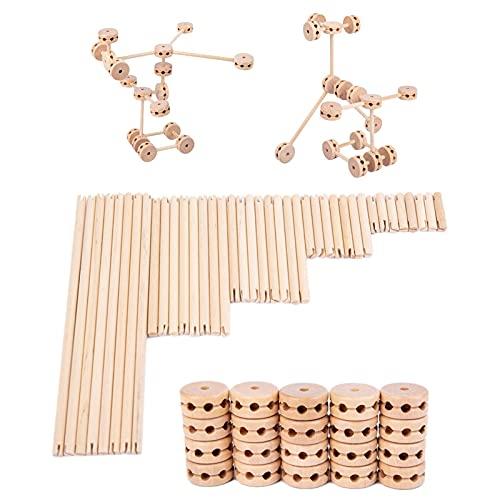 Holzbausteine Set - Kids Building Kit, pädagogisches Kleinkinder Kleinkind Spielzeug Kit, Holzstapelblock Spielzeug, Geltern Geburtstagsgeschenke für 2 3 4 5 Jahre alt Kleinkinder Kinder Jungen