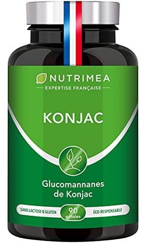 KONJAC PUR - Concentré à 95% en Glucomannanes - Coupe-Faim, Minceur & Perte de Poids - Detox, Régulation du Transit & du Taux de Sucre - 90 Gélules Vegan - Nutrimea - Fabriqué en France