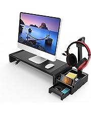 モニタスタンドリフター、USB拡張と引き出し、収納スペース、キーボードとマウスPC、ラップトップ、テレビ用の調整可能なデスクトップシェルフの主催者-black