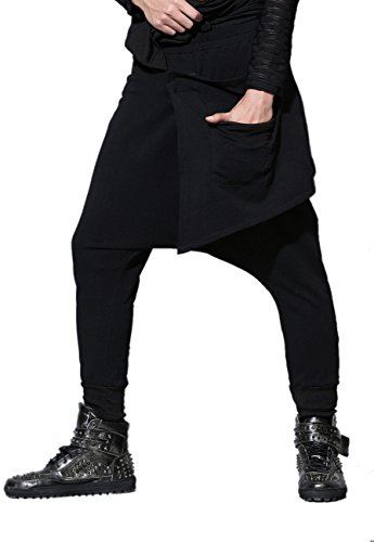 ELLAZHU Uomini Inverno perdono Pantaloni a Vita Elastica Harem GYM25 Solido