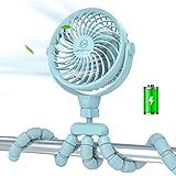 Stroller Fan,Portable Handheld Battery Powered(2600mAh) Clip on Fan with Flexible Tripod, 4 Speeds