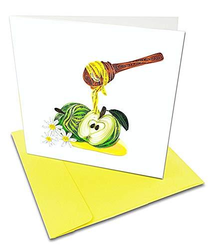 Rosh Hashanah Grußkarte, Äpfel und Honig, 15,2 x 15,2 cm, mit Umschlag Für jeden Anlass. Innen blanko. Handarbeit Geeignet für Rahmen.