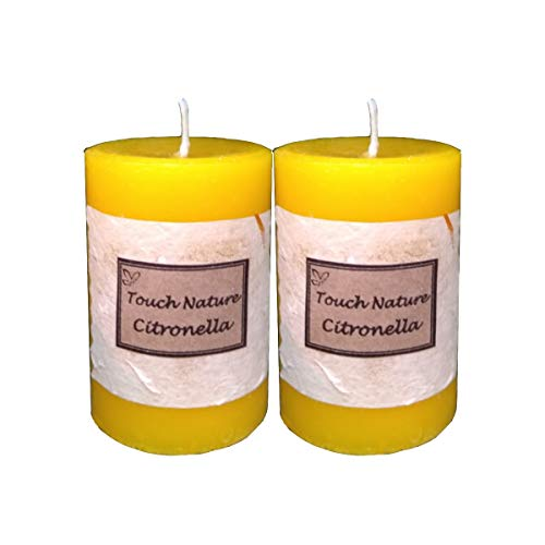 Touch Nature Citronella Essential Oil Scented Aromatherapy Fragrant Yellow Handmade Candle. Hand Poured Rustic Home Décor Pillar Candles. (5x7 cm, Set of 2)