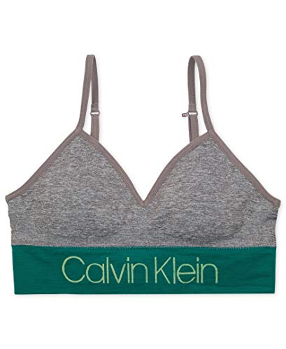 Calvin Klein Big Girls' Seamfree Long Line Bralette, CK Stripe Logo Bra Green, Large (10/12)