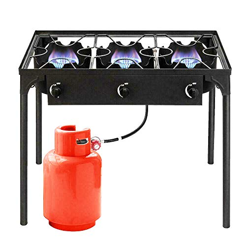 GVOS Outdoor 3-Burner Stove - Portable Cast Iron Propane Gas Cooker 225,000-BTU with Removable Legs for Outdoor Cooking, Parties, Camping, BBQ, Picnic Grills Propane