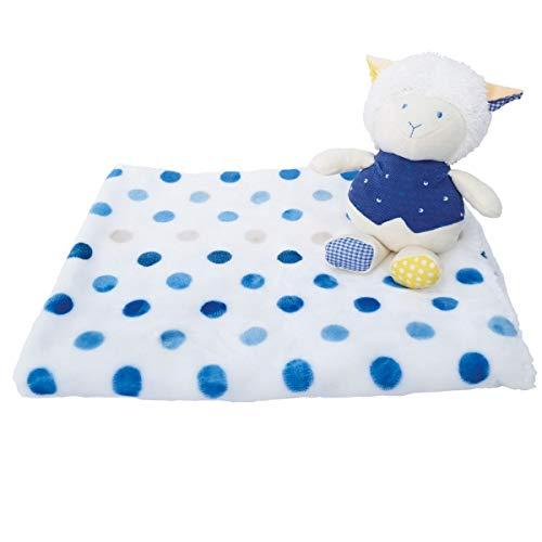 Bieco 04004114 baby knuffelset met knuffeldeken en pluche schaap, knuffeldeken met blauwe stippen en knuffeldier schaap voor baby's vanaf 3 m+, blauw