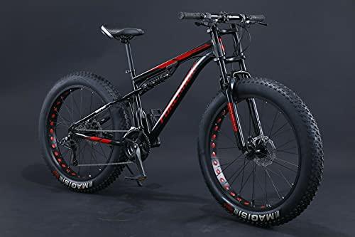 Fat Bike 24 26 pollici Mountain Bike Sospensioni complete con grandi pneumatici (nero, 26 pollici, 27 gears)