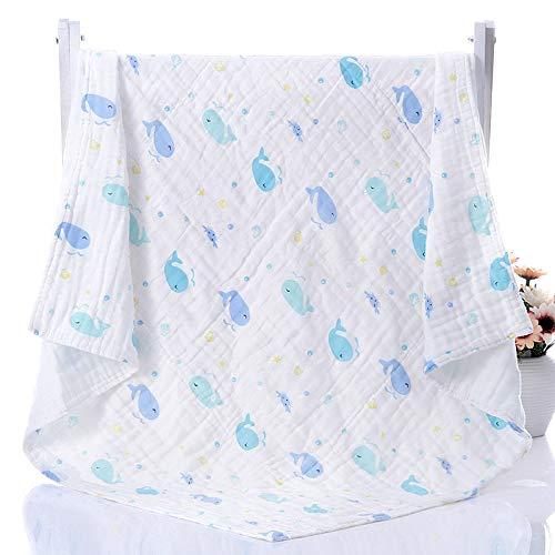 Leeuy Couverture pour enfants 110 * 110cm coton gaze 6 enfants de gaze haute densité à six couches sont recouverts par des serviettes pour nouveau-nés, Happy Whale, 110 * 110
