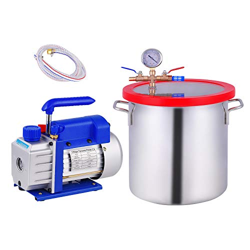 3 Gallon Vacuum Chamber, Heavy Duty Stainless Steel Degassing Chamber Kit with 3 CFM 1/4HP Single Stage Vacuum Pump (3CFM Vacuum Pump Without Oil + 3Gallon Vacuum Chamber Not for Stabilizing Wood)