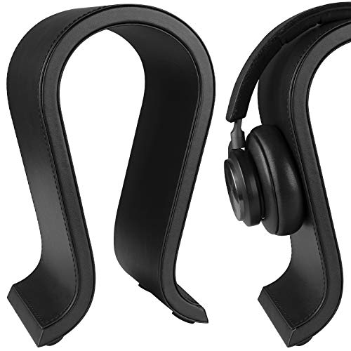 Geekria Acrylic Omega Headphone Stand, Gaming Headset Holder, Desk Display Hanger, Compatible with Sony, AKG, Sennheiser, JVC, Studio, Bang & Olufsen Over-Ear Earphones. (Black)