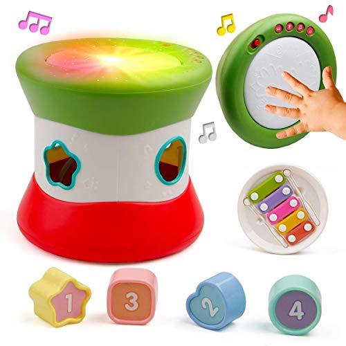 bebé Juguetes del Tambor Musical con la luz, 3 en 1 Instrumentos de percusión y el talón Laberinto Juguetes Que Coinciden con principios educativos para niños y niñas de 6 8 9 10 12 18 Meses de Edad
