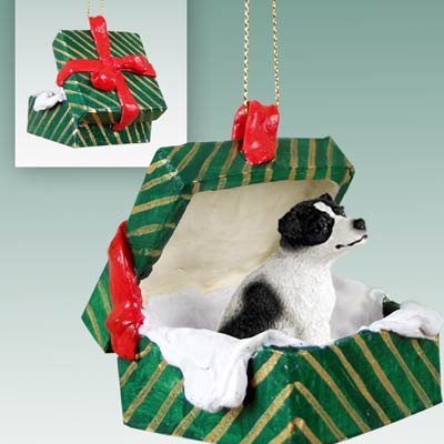 Jack Russell Terrier Green Gift Box Dog Ornament - Black & White