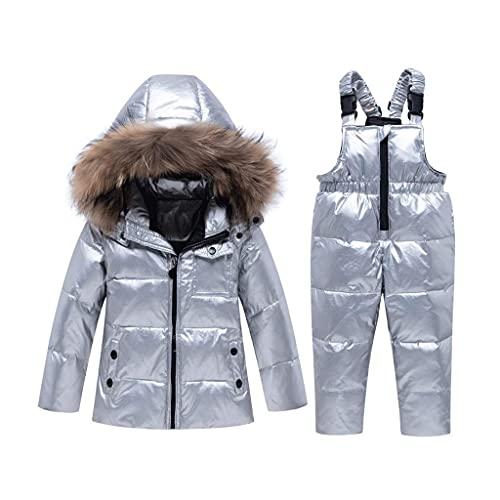XHAEJ Trajes de Invierno para niños Chicas Traje de esquí Traje para niños Ropa de niños Bebé Pato Abajo Chaqueta Abrigo y Monos Calientes Niños Snowsuit (Size : 90cm)