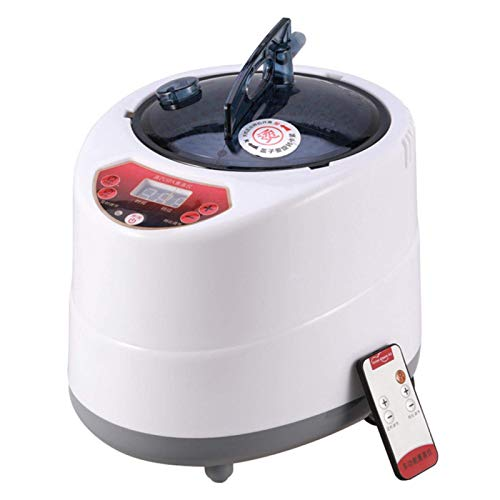 POHOVE Sauna Vaporizador Portátil Olla 2 litros, Acero Inoxidable Steam Generador con Control Remoto, SPA Máquina con Temporizador Pantalla Mist Hidratante para Cuerpo Detox, 220V - Blanco, Free Size