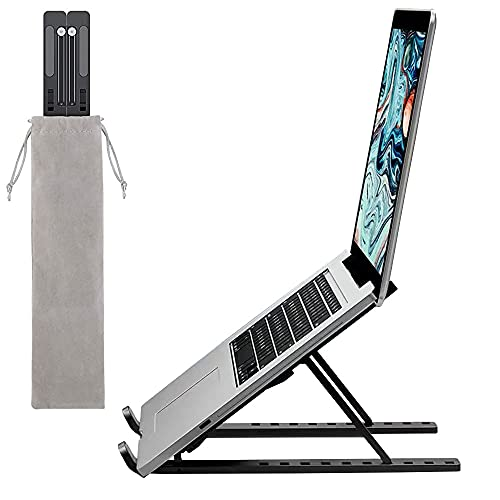 Laptop Stand, Laptop Holder Riser Computer Stand,10 Angles Adjustable ABS Ergonomic Foldable Portable Desktop Holder Compatible with All 10 to 15.6-Inch Laptops and Tablets.(Black)